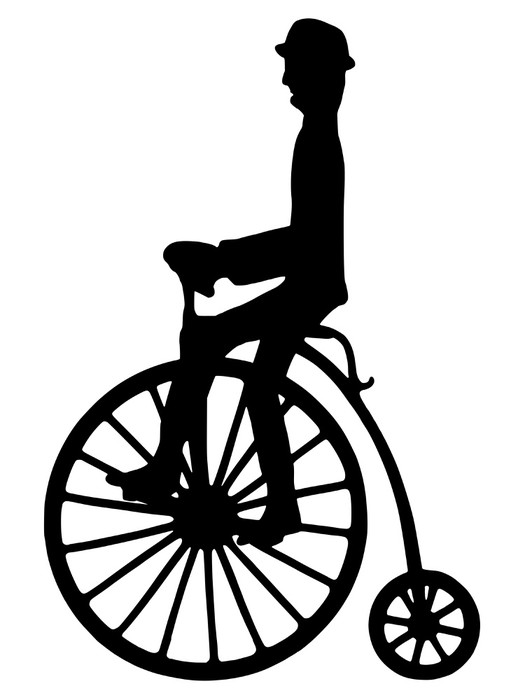 525x700 Vector Silhouette Of A Rider On An Old Fashioned Bicycle Sticker