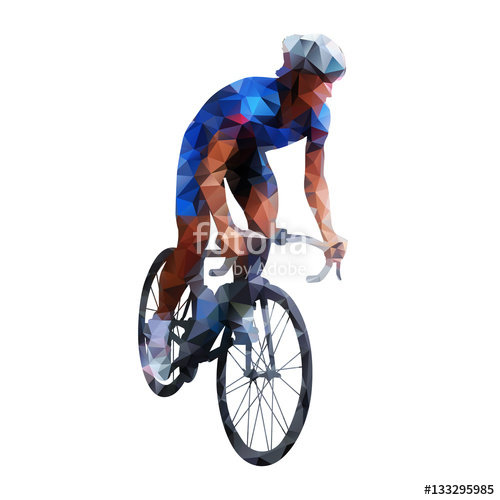 500x500 Polygonal Road Cyclist, Abstract Geometric Vector Silhouette