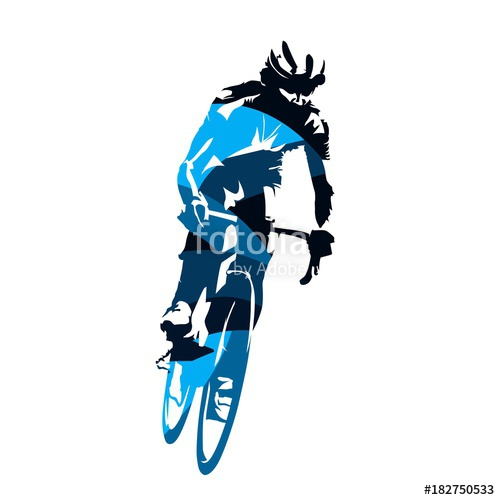 500x500 Road Cycling, Cyclist Riding Bike, Abstract Blue Vector Silhouette