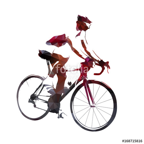 500x500 Road Cyclist, Abstract Geometric Vector Silhouette Stock Image