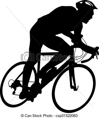 397x470 Silhouette Of A Cyclist Male. Vector Illustration. Clip Art Vector