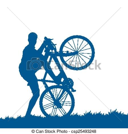450x470 Silhouette Of A Cyclist On The Grass Eps Vector