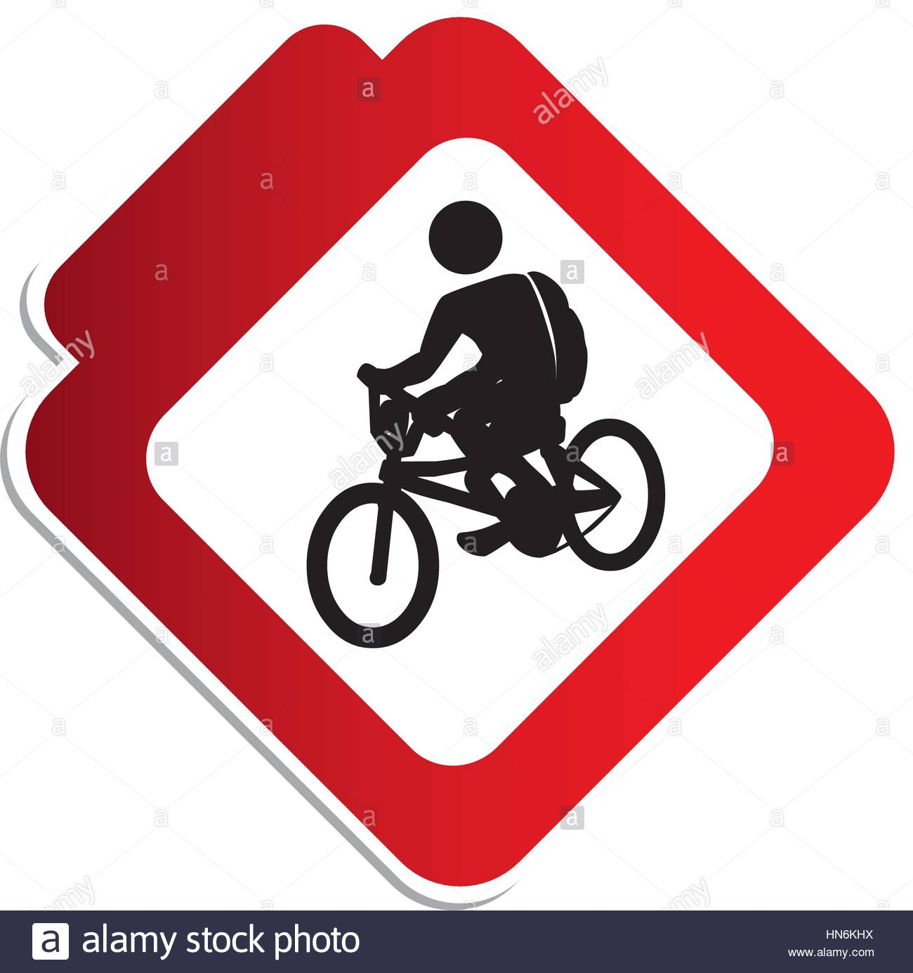 1300x1385 Silhouette Color Road Sign With Pictogram Man Cyclist Stock Vector