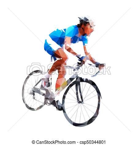 450x470 Cycling Icon, Geometric Road Cyclist, Abstract Vector Vector