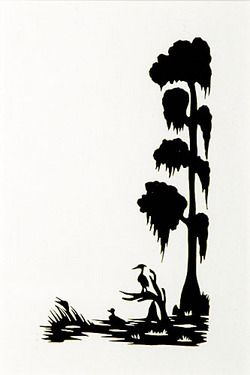 250x375 Silhouette Rice (Carew), Signed, Duck Amp Heron In Cypress Swamp, 5