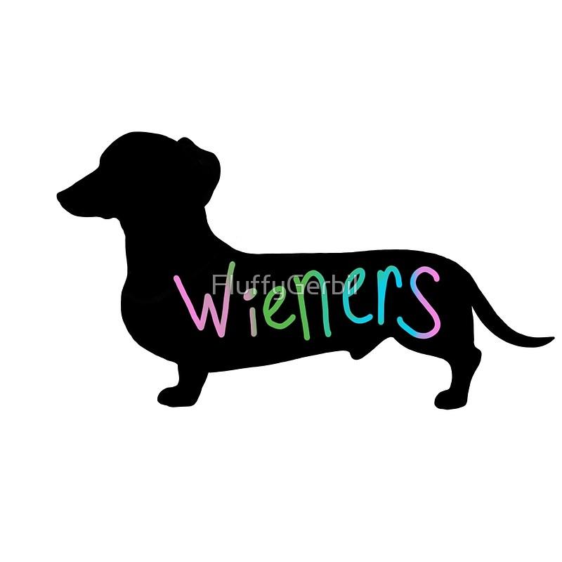 800x800 Wieners Funny Wiener Dog Dachshund Silhouette Rainbow Drawstring