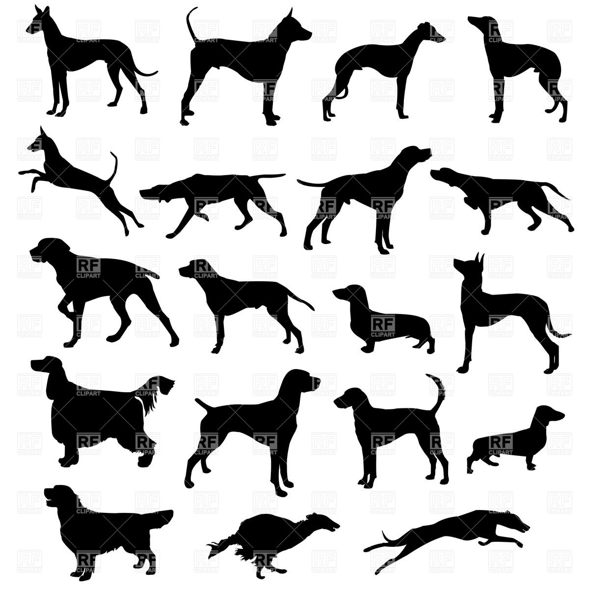 1200x1200 Set Of Silhouettes Of Hunting Dogs In Point And Motion Royalty
