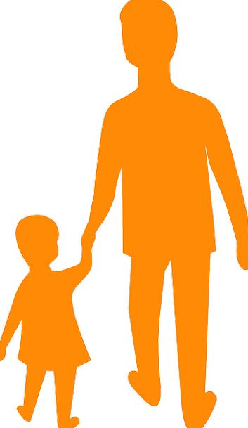 353x609 Father, Dad, Lad, Daughter, Offspring, Son, Silhouette, Outline