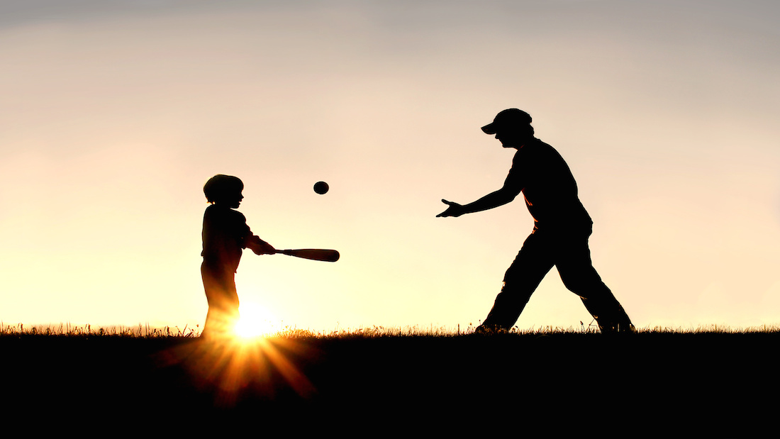 1100x619 Pigeon Frame Silhouette Of Father And Son Playing Baseball Outside