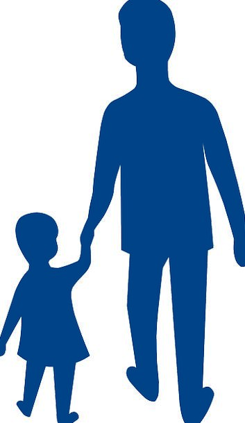 353x609 Father, Dad, Youngster, Silhouette, Outline, Child, Adult, Walking