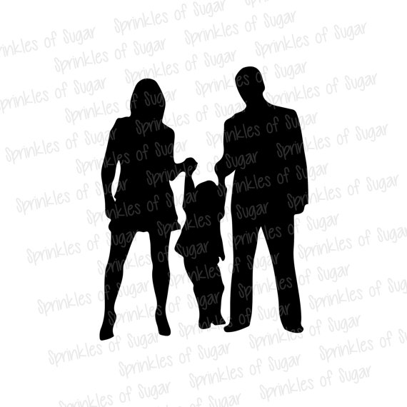 570x570 Items Similar To Family Silhouette, Mom, Dad, Kid On Etsy