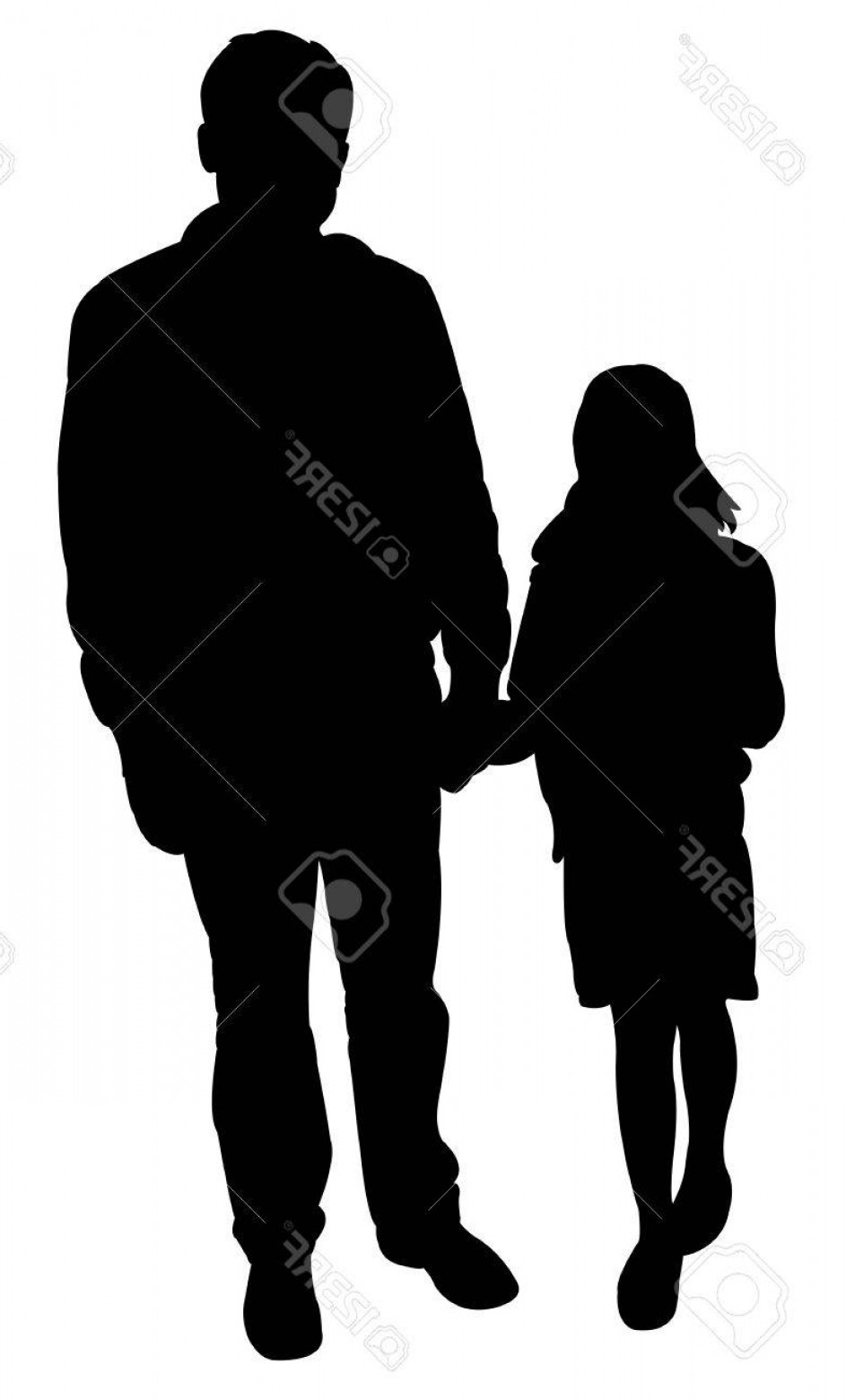 943x1560 Photostock Vector Father And Daughter Together Silhouette Vector