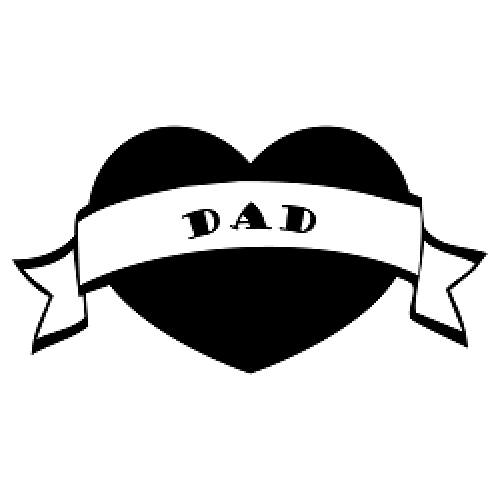 500x500 Dad Heart Banner Silhouette