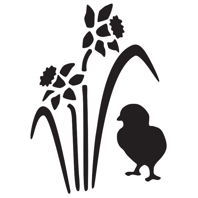650x650 Cceq 003 Chick Amp Daffodils (Egg Shaped) [Stencil (To Go
