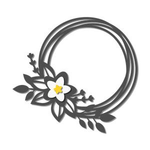 300x300 Daffodil Spring Wreath Silhouette Design, Daffodils And Silhouettes