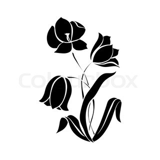 320x320 Flower Daffodils Vector Black Silhouette Stock Vector Colourbox