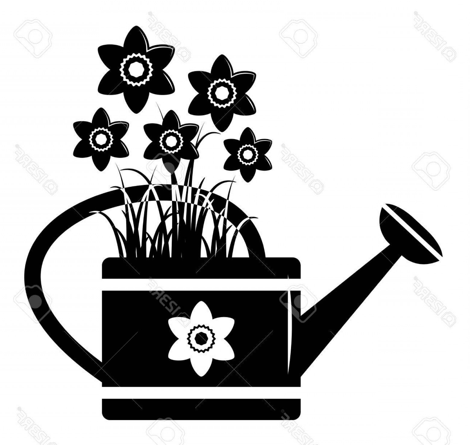 1560x1478 Watering Can Plants Silhouette Vector Shopatcloth