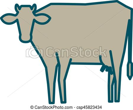 450x375 Line Silhouette Of Standing Cow. Linear Thin Line Vector