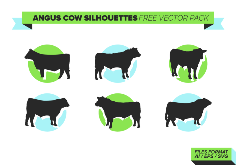 800x560 Angus Cow Silhouettes Vector Pack