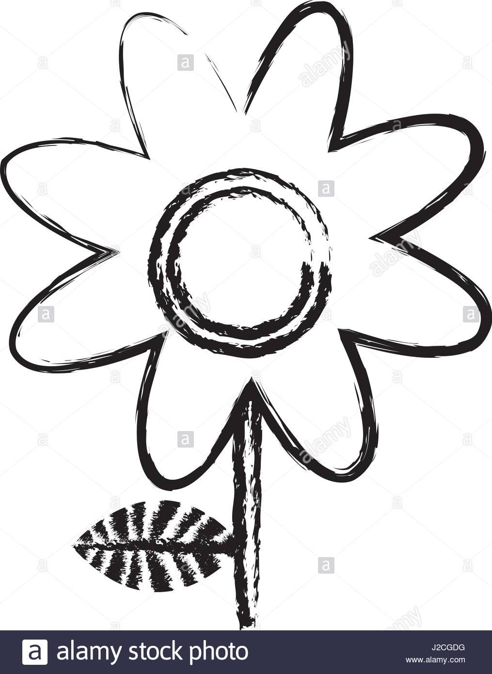 1015x1390 Monochrome Blurred Silhouette Of Daisy Flower Stock Vector Art