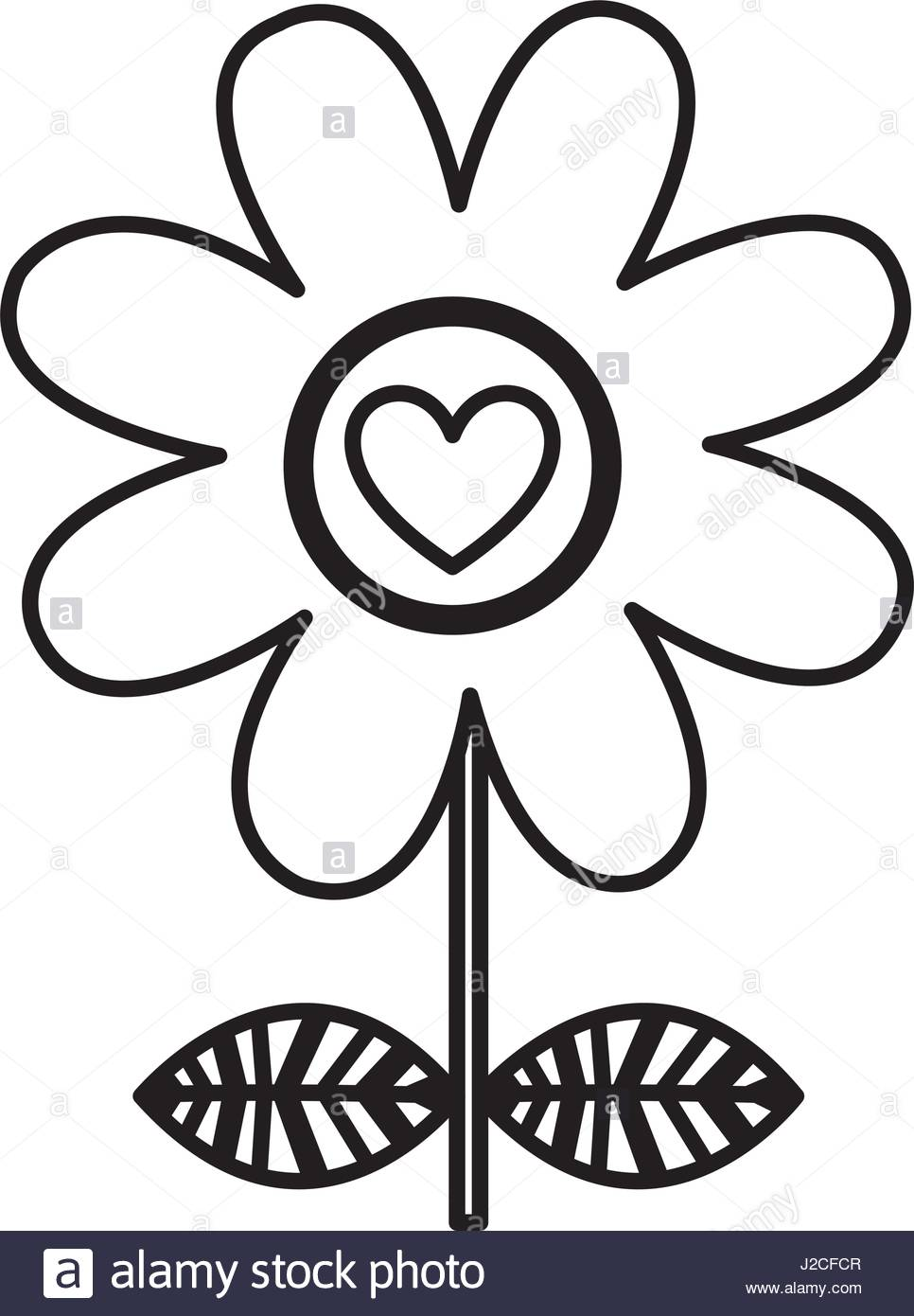 966x1390 Monochrome Silhouette Of Daisy Flower With Emblem Of Heart Stock