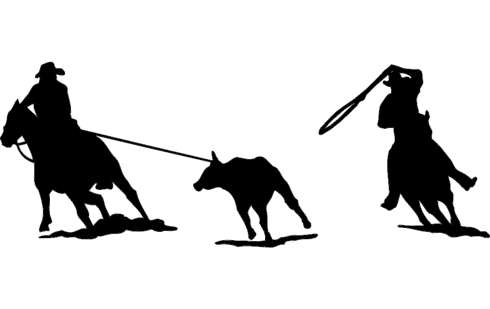 1002x633 Rodeo Team Roping Silhouette Dxf File Free Download