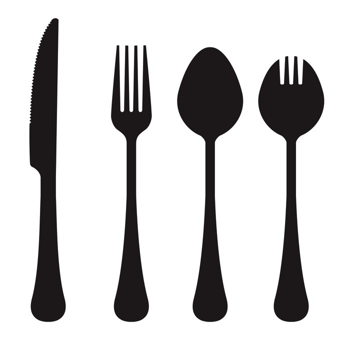 700x700 Vector silhouette of knife, fork, spoon, and spork Wall Mural