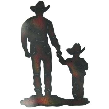 350x350 Cowboy Wall Art Cowboy With Son Silhouette Metal Wall Decor Hobby