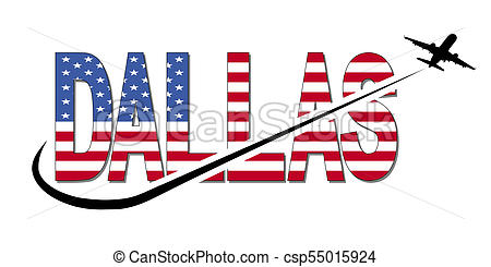 450x245 Dallas Flag Text With Plane Silhouette And Swoosh Clip Art