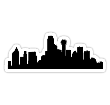 375x360 Dallas skyline Stickers by maximgertsen Redbubble