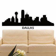 236x236 Dallas Texas Silhouette Skyline Map Art