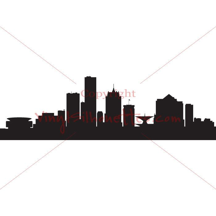 700x700 Milwaukee Wisconsin Skyline Silhouette, Cityscape Wall Sticker