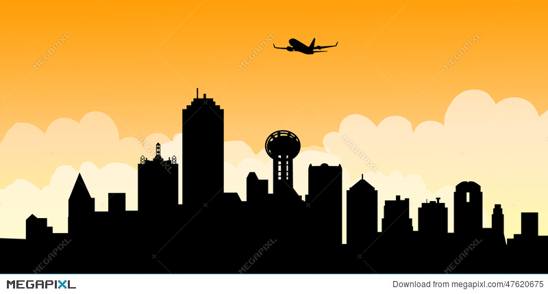 800x430 Morning Dallas Skyline Vector Illustration 47620675