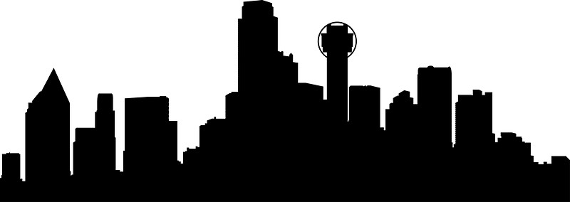 800x284 Dallas Skyline Stickers By Maximgertsen Redbubble