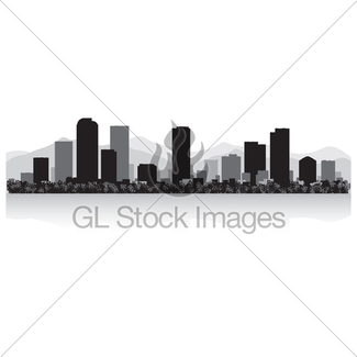 325x325 Denver Colorado City Skyline Silhouette Black Background Gl