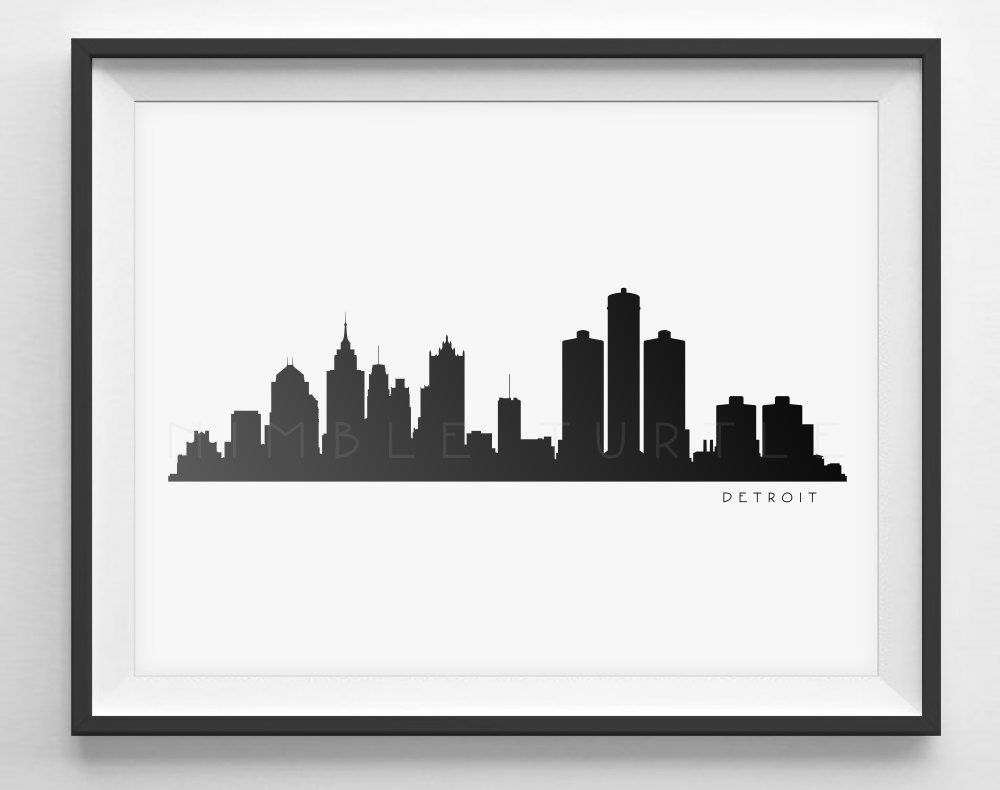 1000x790 Detroit Skyline Black And White Silhouette
