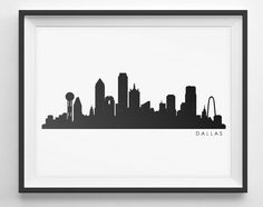236x186 Dallas Skyline Silhouette Medium Vinyl Wall Decal By Wallstickz