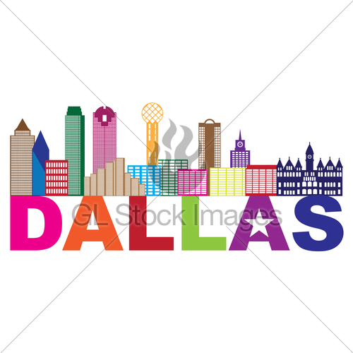 500x500 Dallas Skyline Lone Star Text Color Illustration Gl Stock Images