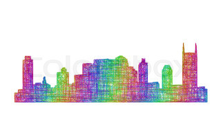 320x192 Nashville Usa City Skyline Silhouette Vector Illustration Stock