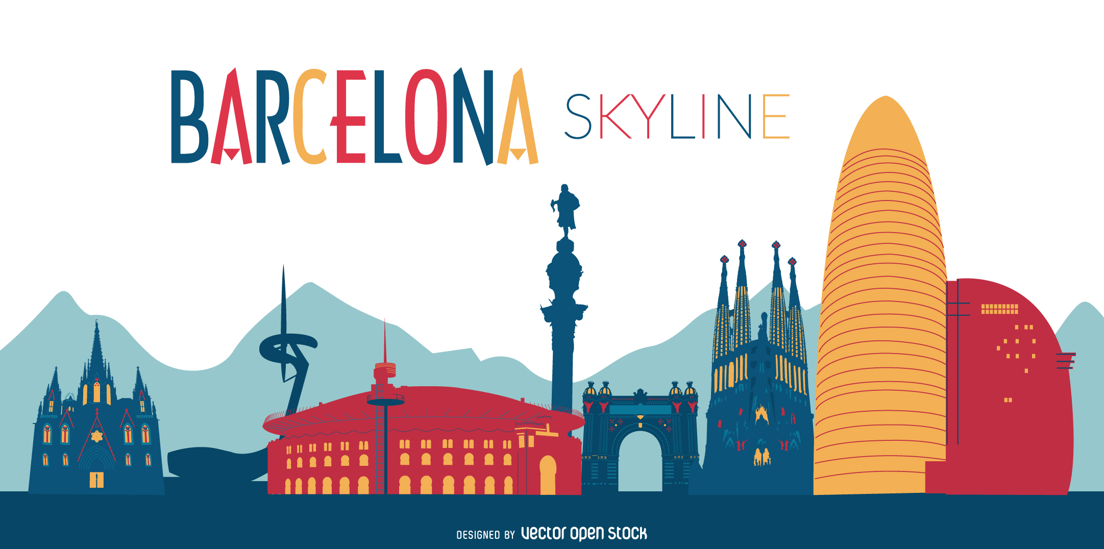 2163x1076 Colorful Barcelona Skyline Illustration