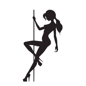 300x300 Pole Dancing Girl Vinyl Sticker Vertical Wise