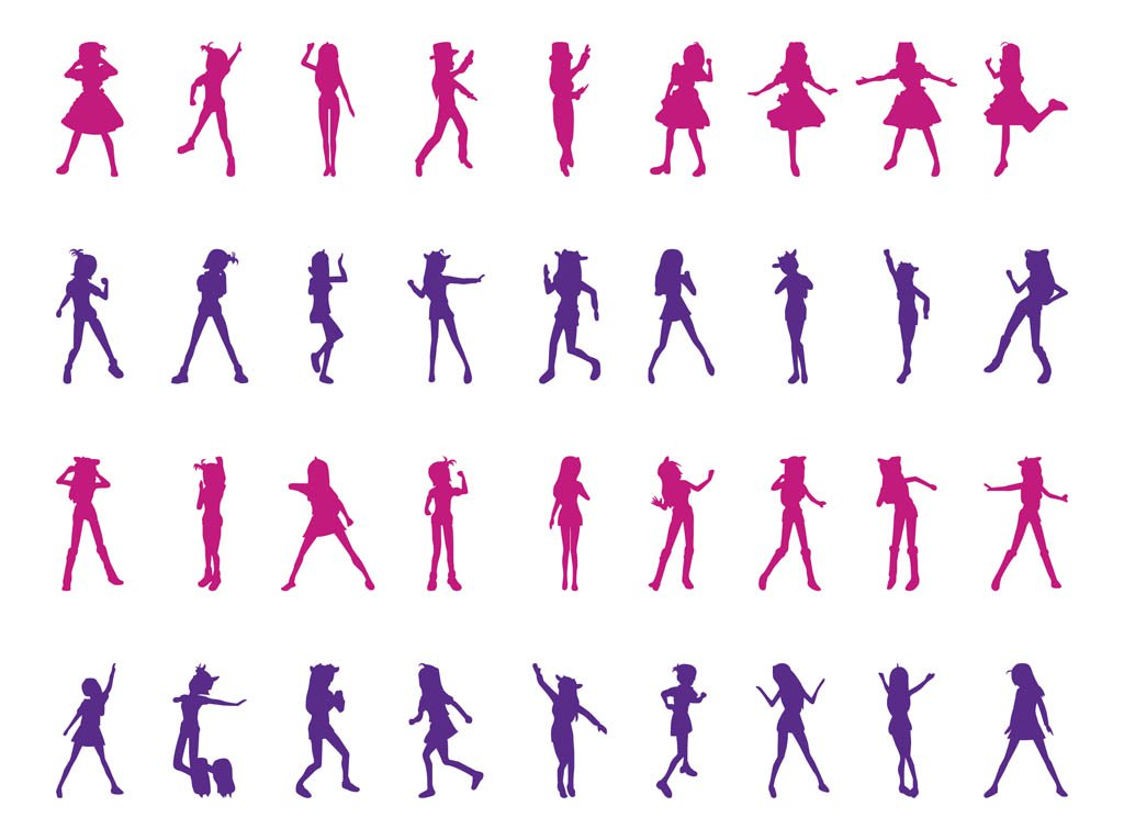 1024x765 Dancing Girls Silhouettes Set Vector Art Amp Graphics