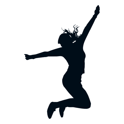512x512 Woman Jumping Pose Silhouette