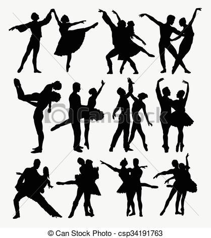 418x470 Ballet Couple Dancer Silhouettes. Ballet Couple Dance Posing
