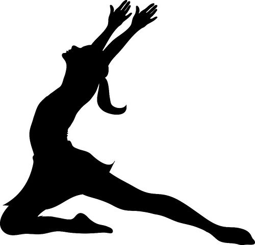 500x481 Clip Art Illustration Of A Silhouette Of A Ballet Dancer Lunging