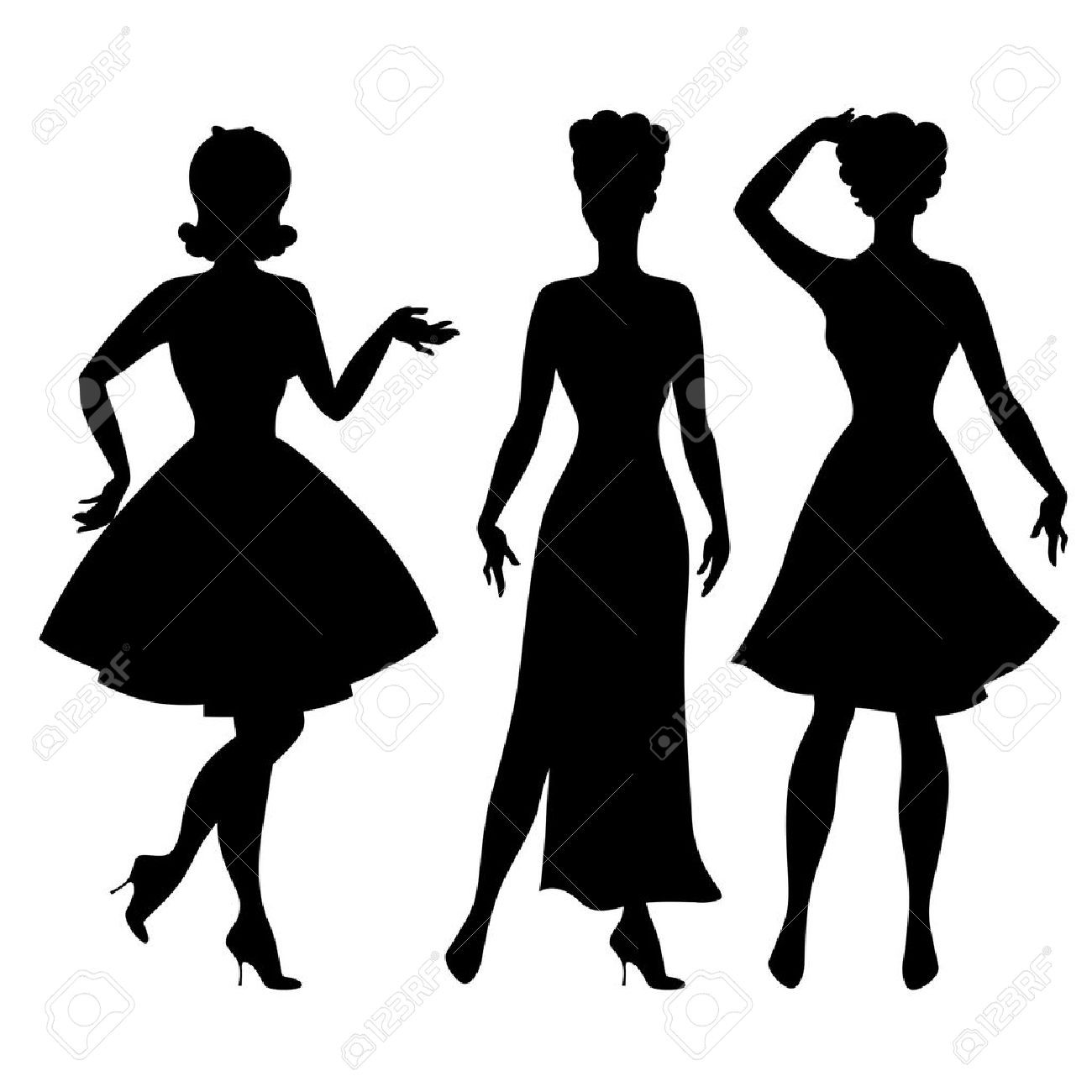 1300x1300 Elegant Silhouette Couple Swing Dancing Royalty Free Cliparts