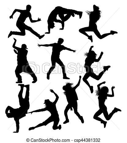415x470 Hip Hop Street Dancing Silhouettes, Art Vector Design Vectors