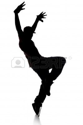 266x400 Silhouette De Danseur Hip Hop Sur Un Fond Blanc Banque D'Images