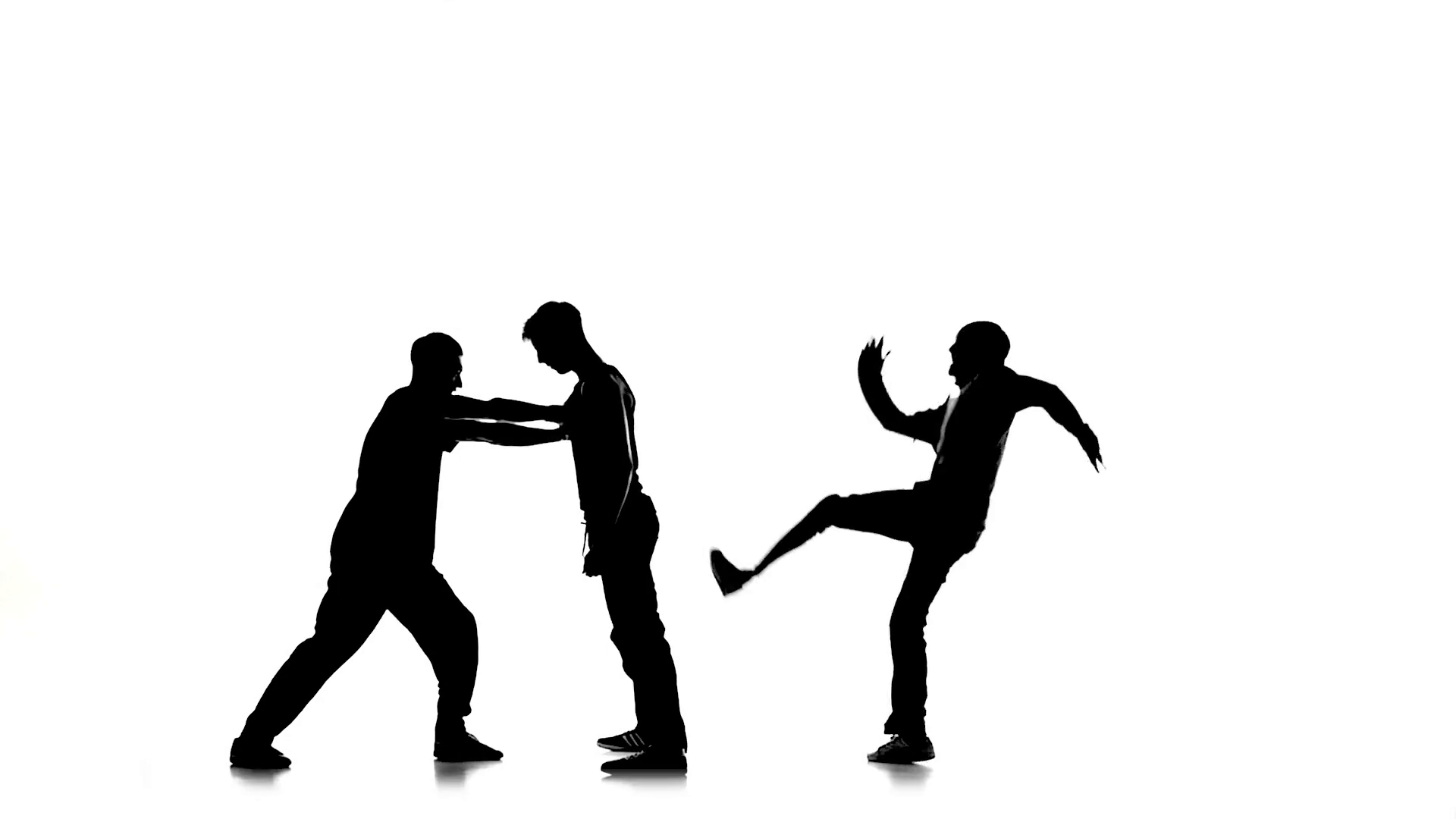 1920x1080 Three Young Men Dancing Hip Hop, Breakdance On White, Silhouette
