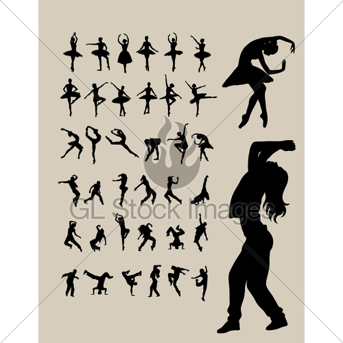 500x500 Ballerina And Hip Hop Dancer Silhouettes Gl Stock Images